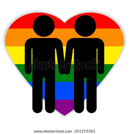 Gay couple symbol on white background. Vector illustration. - stock vector