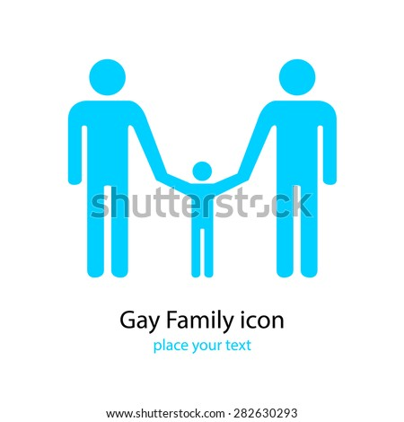 gay family icon. sexual orientation sign. white background - stock vector