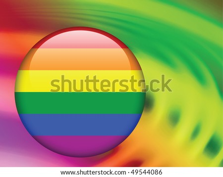 Gay Flag Button on Abstract Liquid Wave Background Original Vector Illustration - stock vector