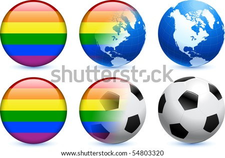 Gay Flag Button with Global Soccer Event Original Illustration - stock vector