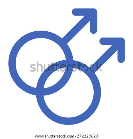 Gay gender symbols line art icon for apps and websites - stock vector
