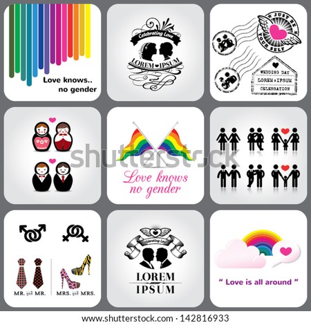 Gay & Lesbian LGBT Icons and Design Elements - stock vector