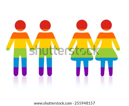 Gay male & female couple silhouette.colorful people holding hands - stock vector