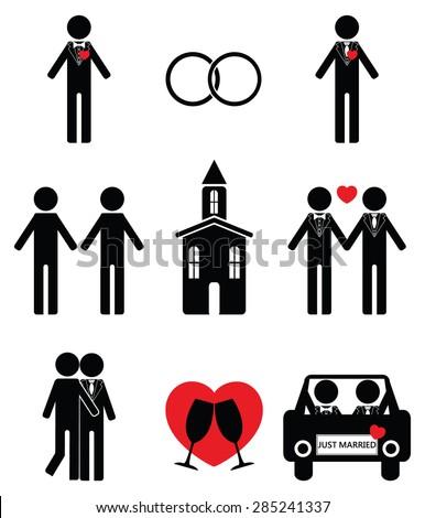 Gay man wedding  2 icon set   - stock vector