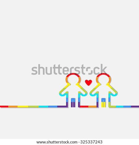 Gay marriage Pride symbol Two contour rainbow man LGBT icon Red heart Flat design Vector illustration - stock vector