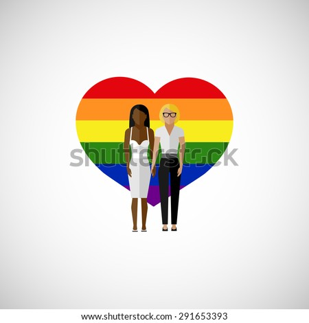 gay marriage vector flat illustration. homosexual lesbian couple on the rainbow heart background. love wins - stock vector