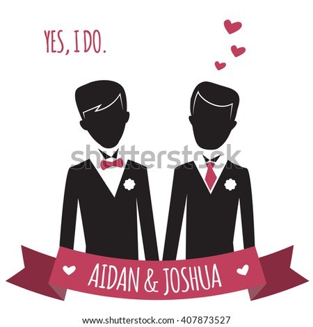 Gay wedding couple. Vector illustration of gay marriage. Same-sex family. Black silhouettes of two grooms in tuxedos.  isolated on white. Could be used for wedding invitation, Save the Date cards etc. - stock vector