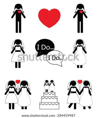 Gay woman wedding icons set  - stock vector