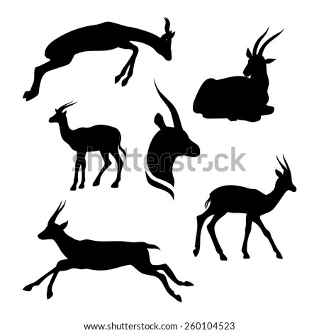 Gazelle set of silhouettes vector - stock vector