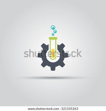 Gear and test tube, laboratory, chemical industry isolated vector icon, logo design element - stock vector