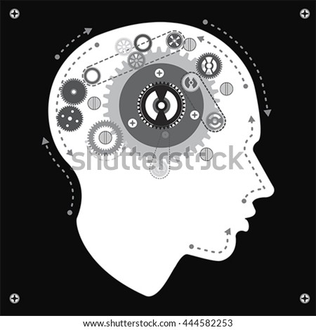 Gear brain mechanism, vector - stock vector