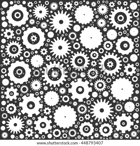 Gear cog wheels background. White vector illustration on grey background. - stock vector