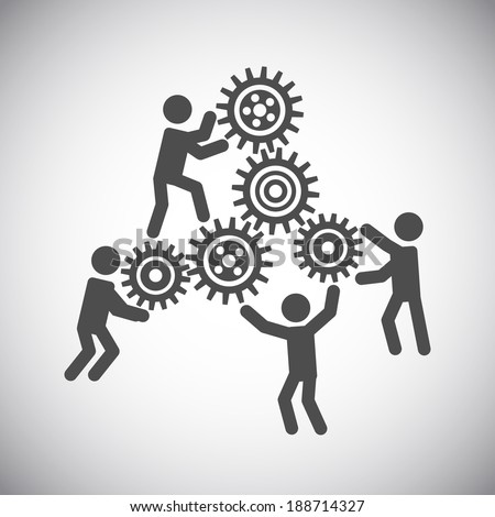 Gear cog wheels teamwork working people collaboration concept vector illustration - stock vector