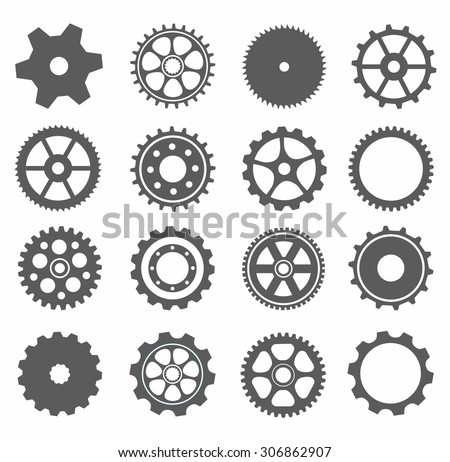 gear collection machine gear (wheel cogwheel vector, set of gear wheels, collection of vector gear). Can be the app button for web. 16 gear picture, can be used for your gear application  - stock vector