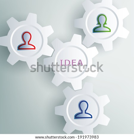 gear featuring people who interact - stock vector