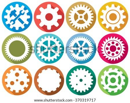 gear flat icons (machine gear set, wheel cogwheel vector set) - stock vector