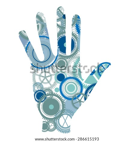 Gear hand  in stop position - stock vector