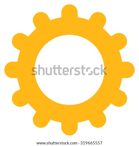Gear icon from Primitive Set. This isolated flat symbol is drawn with yellow color on a white background, angles are rounded. - stock vector