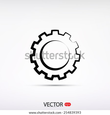gear icon, vector illustration. Flat design style - stock vector