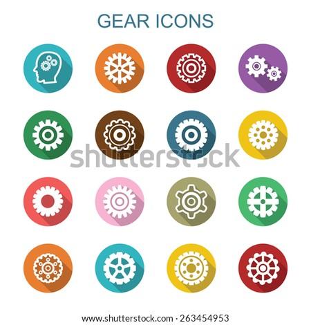 gear long shadow icons, flat vector symbols - stock vector
