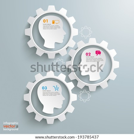 Gear machine with 3 heads on the grey background. Eps 10 vector file. - stock vector