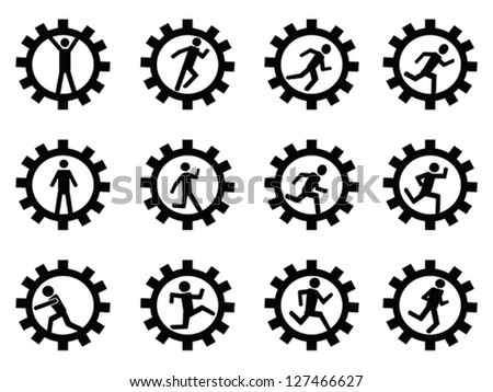 gear man symbol - stock vector