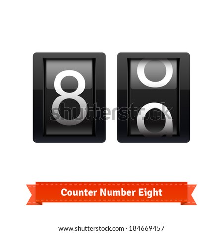 Gear number counter template for number eight. Highly editable EPS10 interface elements. - stock vector