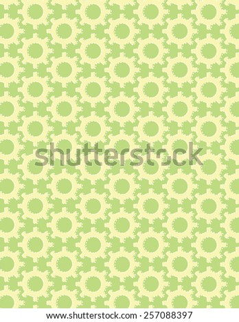 Gear pattern arranged over solid green color background - stock vector