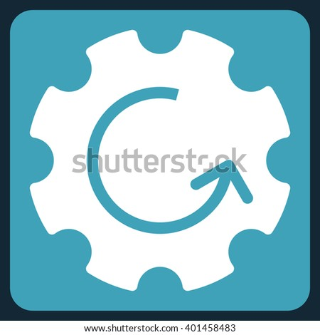 Gear Rotation vector icon. Image style is bicolor flat gear rotation pictogram symbol drawn on a rounded square with blue and white colors. - stock vector