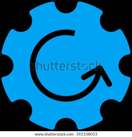 Gear Rotation vector icon. Image style is flat gear rotation pictogram symbol drawn with blue color on a black background. - stock vector