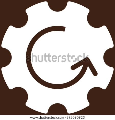 Gear Rotation vector icon. Image style is flat gear rotation pictogram symbol drawn with white color on a brown background. - stock vector