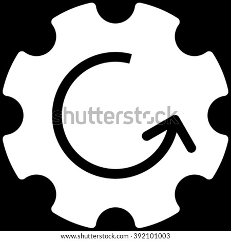 Gear Rotation vector icon. Image style is flat gear rotation pictogram symbol drawn with white color on a black background. - stock vector