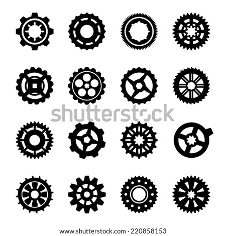 Gear set icons - sixteen cogwheel silhouette - stock vector