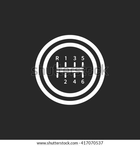 Gear shift manual transmission sign simple icon on  background - stock vector
