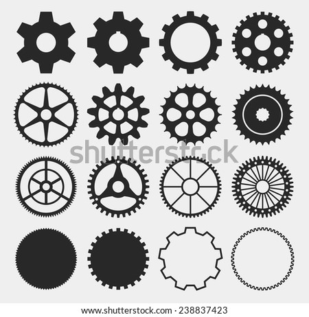 gear silhouettes,  machine gears - vector - stock vector
