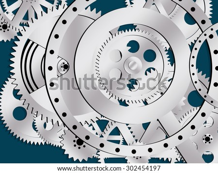 gear wheel clock vector - stock vector