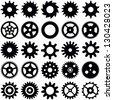 Gear wheel collection - vector silhouette - stock vector
