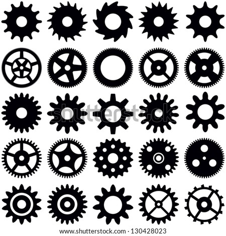 Gear wheel collection - vector silhouette - stock vector