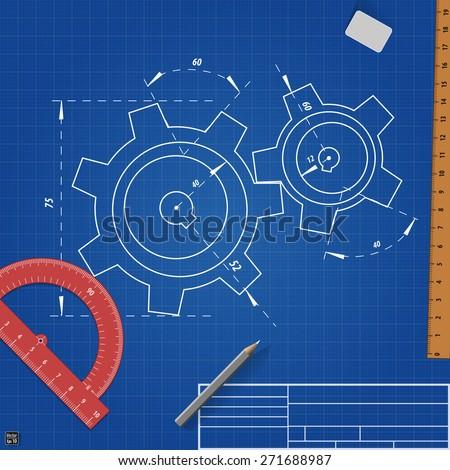 Gear wheel sketch drawing on blueprint background. Vector illustration - stock vector