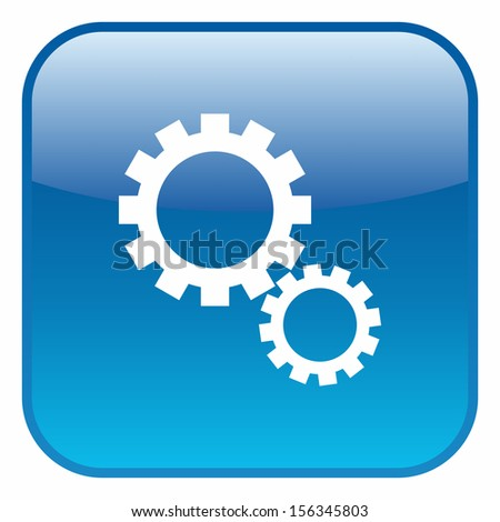 Gear wheel symbol (glossy rounded button, blue version) - stock vector