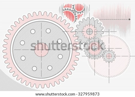 Gear wheels in cooperation represented as pencil drawing. Technological abstract technical and engineering background - stock vector
