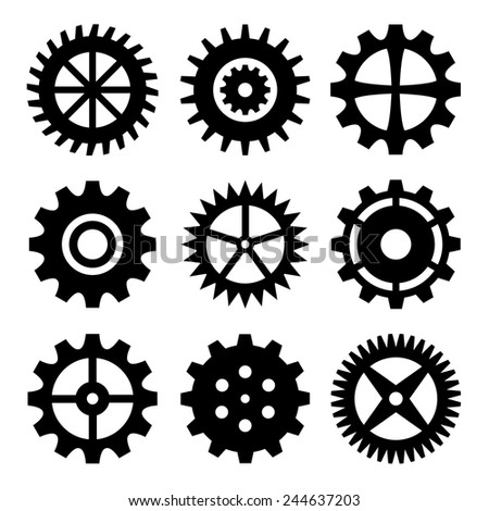 Gear wheels isolated on white background. Vector collection - stock vector