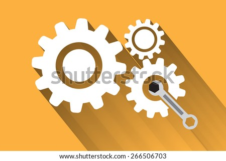 gear with wrench flat design, Repair icon. Creative graphic design logo element. Vector Illustration.  - stock vector