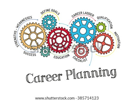 Gears and Career Planning Mechanism - stock vector