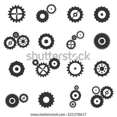 Gears And Cog Wheels Icons Set Vector Isolated On White - stock vector