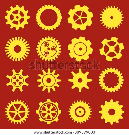 Gears and cogs icons set. Cog wheel Icon Collection. Vector illustration of cog icons isolated on red background. - stock vector