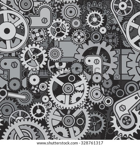 Gears and Cogwheels Background. Vector Seamless Pattern - stock vector