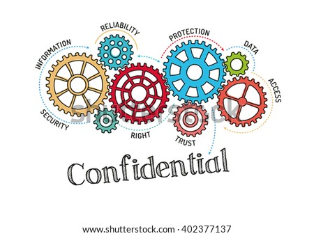 Gears and Confidential Mechanism - stock vector