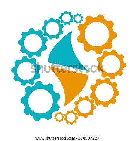 Gears and Flame. Symbol of Strategic Alliance for Business, Teamwork, Merger or more.  - stock vector