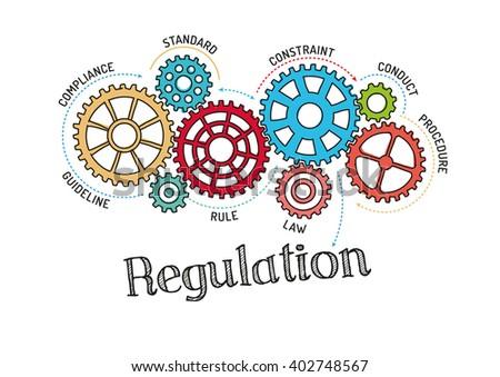 Gears and Regulation Mechanism - stock vector